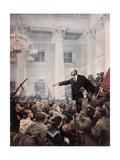 Lenin Proclaims Soviet Power, October 1917 Kunst af Vladimir Aleksandrovich Serov
