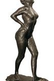 Dancer at Rest, Her Hands on Her Hips, Right Leg Forward Print by Edgar Degas