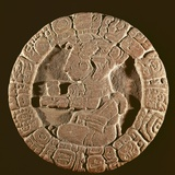 Mayan Disc with Carved Figure from Tonina Photo