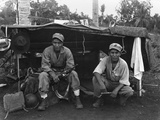 Native American Marines at their Shelter on a Guam Hillside Photo