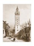 The Giralda, Minaret of Mosque, Seville Print by Jenaro Perez Villaamil