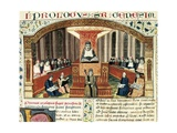 Lesson at Sorbonne by Theologian Nicolas De Lyre (1270-1340) Poster