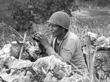 Native American Marine 'Code Talker' at an Observation Post Overlooking the City of Garapan Photo