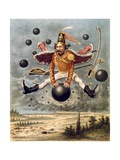 Baron Munchausen Riding a Cannonball During Fight with Tippoo Prints by Alphonse Adolf Bichard