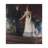 King Alfonso XIII with His Mother Queen Maria Cristina of Austria Prints by Joaquín Sorolla y Bastida
