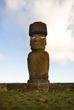Moai with Original Stone Hat and Eyes Restored Photo