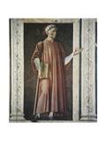 Dante Alighieri Holding a Book Giclee-tryk i høj kvalitet af Andrea Del Castagno