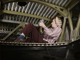 Woman War Worker Riveting an A-20 Bomber. Douglas Aircraft Company Plant Photo