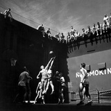 Navy Pilots Playing Basketball in Elevator Well of USS Monterey During World War 2 Photo