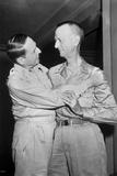 Generals Douglas Macarthur and Jonathan Wainwright Embrace at Yokohama Photo