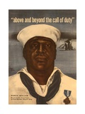 World War 2 Poster with a Portrait of Doris 'Dorie' Miller Prints