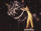 Woman War Worker Performing Precise Aircraft Engine Installation Detail Photo