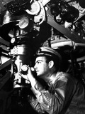 U.S. Officer at the Periscope of Submarine During World War 2. Ca. 1942 Photo