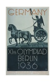 Germany XIth Olympiad Berlin 1936, Poster Depicts a Profile View of the 'Quadriga' Posters