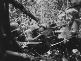 U.S. Marine Machine Gunners Firing at Japanese in Battle of Cape Gloucester Photo