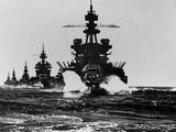 Battleship USS Pennsylvania Is Followed by Three Cruisers Foto