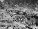 Marine Tanks and Infantry Assault Japanese Positions in a Peleliu Island Ridge Photo