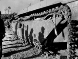 Shadows of 6th Division Marines on a Battle-Wrecked Tank on Okinawa Photo