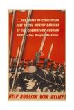 Help Russian War Relief! American World War 2 Poster Depicting Soviet Soldiers Art