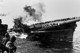 USS Franklin Aircraft Carrier on Fire and Listing after a Strike by a Japanese Dive Bomber Photo