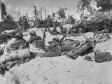 African American Marines Move Through the Trenches on the Beach During the Battle of Peleliu Posters
