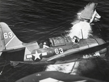 Aerial View of a Curtiss Helldiver in the Landing Circle Above the USS Yorktown Photo