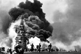 USS Bunker Hill Aircraft Carrier Burning after Two Kamikaze Strikes During the Battle of Okinawa Photo