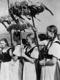 German Women Wearing Traditional Folk Costumes During the 1935 Erntedankfest Photo