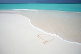 Heart Drawn on an Empty Tropical Beach, Maldives, Indian Ocean, Asia Photographic Print by  Sakis