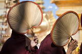 Monks Shielding their Faces from Sun, New Moon Festival, Bagan, Myanmar (Burma), Asia Photographic Print by  Lynn