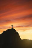 Statue of Christ the Redeemer at Sunset, Corcovado, Rio De Janeiro, Brazil, South America Reproduction photographique par  Angelo
