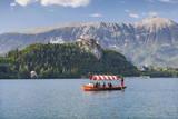 Excursion Boat, Bled Castle, Lake Bled, Gorenjska, Julian Alps, Slovenia, Europe Photographic Print by  Markus