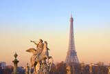 Eiffel Tower from Place De La Concorde with Statue in Foreground, Paris, France, Europe Photographic Print by  Neil