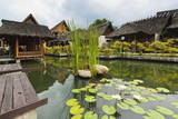 Traditional Kampung Style Rooms over Carp Ponds at the Kampung Sumber Alam Hot Springs Hotel Photographic Print by  Rob
