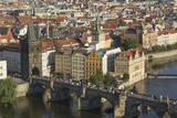 Elevated View of the Charles Bridge, UNESCO World Heritage Site, Prague, Czech Republic, Europe Photographic Print by Angelo Cavalli