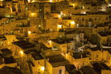 Houses at Night in the Sassi Area of Matera, Basilicata, Italy, Europe Photographic Print by  Martin