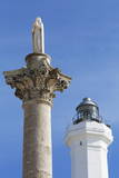 Statue and Lighthouse at Santa Maria Di Leuca, Leuca, Puglia, Italy, Europe Photographic Print by  Martin
