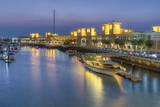Souk Shark Mall and Kuwait Harbour, Illuminated at Dusk, Kuwait City, Kuwait, Middle East Photographic Print by  Gavin