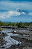 Little Creek and the Tolbachik Volcano, Kamchatka, Russia, Eurasia Photographic Print by  Michael