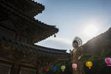 Backlit Golden Maitreya Statue, Beopjusa Temple Complex, South Korea, Asia Photographic Print by  Michael