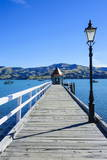 Long Wooden Pier in Akaroa, Banks Peninsula,Canterbury, South Island, New Zealand, Pacific Photographic Print by  Michael