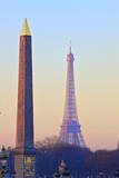 Eiffel Tower from Place De La Concorde with Obelisk in Foreground, Paris, France, Europe Photographic Print by  Neil