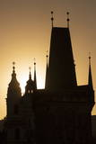 Old Town Bridge Tower in Silhouette, Prague, Czech Republic, Europe Photographic Print by  Angelo