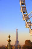 Eiffel Tower from Place De La Concorde with Big Wheel in Foreground, Paris, France, Europe Photographic Print by  Neil