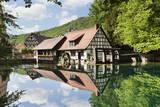 Mill Reflecting in Blautopf Spring, Blaubeuren, Swabian Alb, Baden Wurttemberg, Germany, Europe Photographic Print by Markus Lange