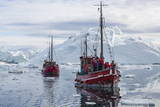 Commercial Iceberg Tours Amongst Huge Icebergs Calved from the Ilulissat Glacier Photographic Print by  Michael