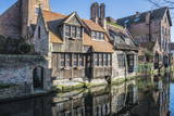 Houses Along a Channel, Historic Center of Bruges, UNESCO World Heritage Site, Belgium, Europe Photographic Print by  G&M