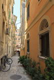 Narrow Street with Bike, Old Town, Corfu Town, Corfu, Ionian Islands, Greece Photographic Print by  Eleanor