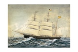Corvette F.G. with Four-Color Flag of Barcelona Print by Jose Pineda