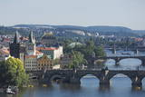 Bridges over the Vltava River, Prague, Czech Republic, Europe Photographic Print by  Angelo